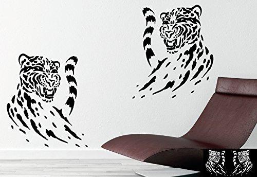 Kleb-Drauf - 2 Leopard - Aufkleber zur Dekoration von Wänden, Glasprodukten, Fliesen und allen anderen glatten Oberflächen; aus 19 Farben wählbar; in matt oder glänzend; Lavendel - glänzend