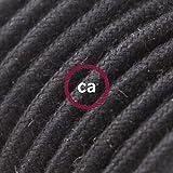 Cable Eléctrico Redondo Recubierto en Algodón Color Sólido Negro RC04 - 10 Metros, 2x0.75