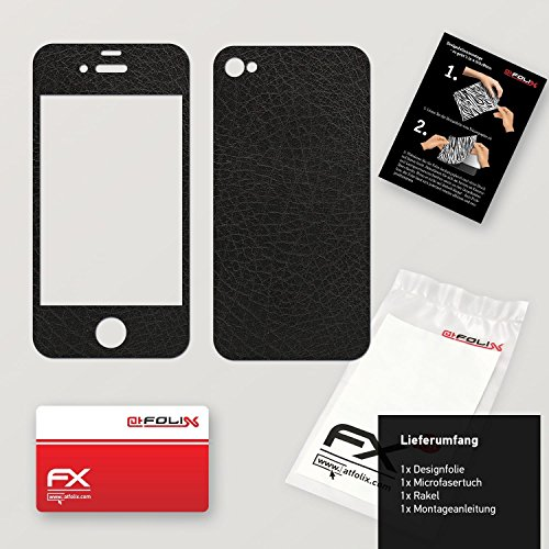 "Skin Apple iPhone 4 / 4s ""FX-Brushed-Black"" Designfolie Sticker FX-Leather-Black"