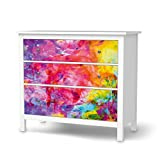 creatisto Klebefolie Sticker Aufkleber für IKEA Hemnes Kommode 3 Schubladen | Möbel überkleben Verschönerung Möbeldeko | Modernes Wohnen Wohnzimmer-Dekoration Dekor | Design Motiv Abstract Watercolor