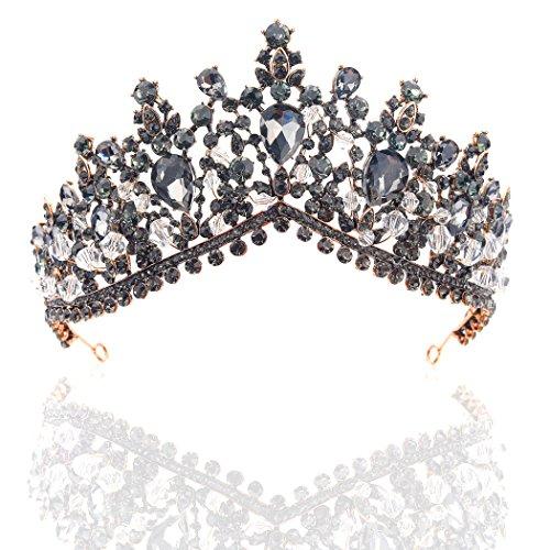 handcess Strass Hochzeit Krone und Tiara schwarz Blume Haarband für Damen und Mädchen (Damen Tiara)