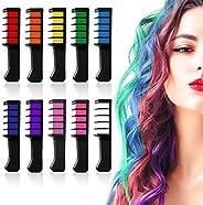 مجموعة مشط طباشير الشعر البراق المؤقت 10 ألوان - هدايا عيد ميلاد لعيد القديسين أزياء الحفلات التنكرية للفتيات