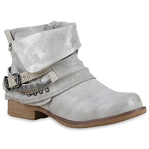 Damen Stiefeletten Zipper Biker Boots Leder-Optik Schnallen Knöchelhohe Stiefel Damen Schuhe 115684 Grau Bernice 40 | Flandell®