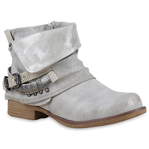 Damen Stiefeletten Zipper Biker Boots Leder-Optik Schnallen Knöchelhohe Stiefel Damen Schuhe 115684 Grau Bernice 40 | (Kostüme Coole Cowboy)