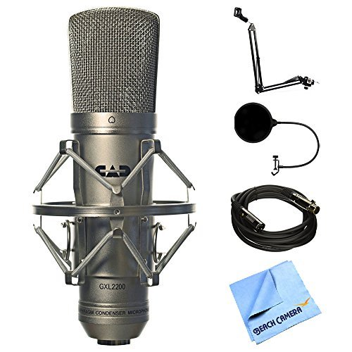 CAD Audio Large Diaphragm Cardioid Condenser Microphone (GXL2200) + Suspension Boom Scissor Arm Stand + Pop Filter Microphone Wind Screen + XLR Male to XLR Female Cable + Micro Fiber Cloth  available at amazon for Rs.17329
