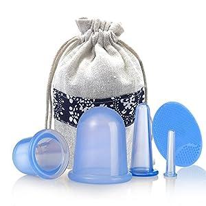Mifine Silikon Schröpfen Cups,silikon schröpfen set,silikon schröpfen massage anti-cellulite-cups,Schönheitstherapie-Massage,4 Stück Gesicht & Körper