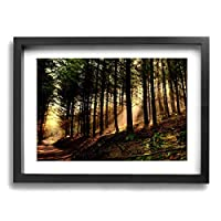 PKLUAS æ-¥ 木 Wall Art Decor Poster Artworks Paintings Landscape Canvas Prints None Frame For Home Decorations 16x12Inch