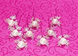 50 Perlennadeln Perlen mit Blattrand silber weiß Rosennadeln