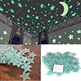 Stickonn Sparkle Green Colour Fluorescent Glow In The Dark Star Wall Sticker(100 Stars And 1 Moon,Size: 3x3 cm)