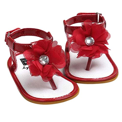 Coolster Blume Baby Mädchen Krippe Schuhe Kleinkind Sandalen Soft Sole Infant Girl First Walkers Rot