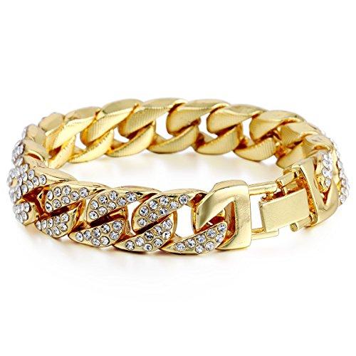 Trendsmax 14mm Männer Frauen Hiphop Iced Out Curb Kubanische Armband Kette Gelbgold gefüllt GF w Gepflasterte Rhinestones 21.8cm (Gold Kette Armband)