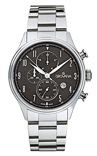 Grovana-Orologio da uomo al quarzo con Display con cronografo e cinturino in acciaio INOX color argento 1192,9137
