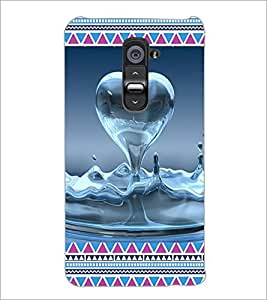 PrintDhaba Water Heart D-4094 Back Case Cover for LG G2 (Multi-Coloured)