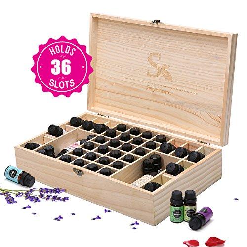 Leicht Beschädigte Box (Skymore Aromatherapie ätherisches Öl Holz Aufbewahrung Geschenk-Box (passend für 36 Flaschen))