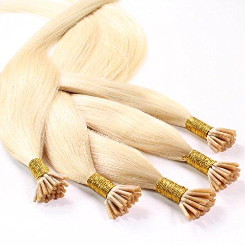 hair2heart 50 x 0.5g Echthaar Microring Stick Extensions, 50cm - glatt - #22 goldblond (Haar-stick Indische)