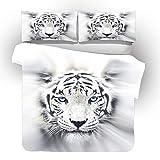 LJJYF Einfache Knie Decke,3D-gedrucktes Polyester-Baumwolle Tier Tiger Pferd Bettwäsche, Bettbezug und Kissenbezug, Boy Schlafzimmer Single, Double Super King-White_Tiger_135 * 200cm (2pcs)