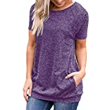 ESAILQ DamenSommer T-Shirt/Oberteile Kurzarm - Damen(XL,Lila)