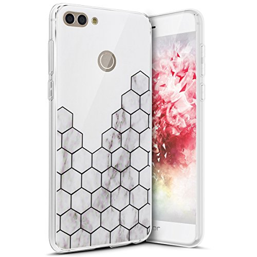 Coque Huawei Honor 7C,Surakey Marbre Motif Souple Silicone Étui Protection Bumper Housse Clair Doux TPU Gel Ultra Mince Coque Etui Housse Case Cover pour Huawei Honor 7C, 10