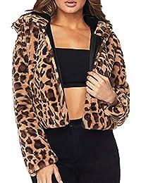 MEIbax Mujeres Leopardo Sexy Invierno cálido Abrigo Cardigan Leopardo de impresión Abrigo con Capucha de Manga Larga de Piel sintética de Leopardo para Mujer