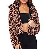 Damen Leopard Hoodie MEIbax Kunstpelz Outwear Langarm Cardigan Warm Jacke Winter Mantel