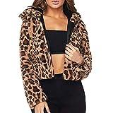 ❤️ Abrigo Corto Sudaderas con Capucha Mujer Leopardo, Mujeres Invierno Leopardo Sudadera con Capucha de Piel sintética de Manga Larga Chaqueta de Abrigo Outwear Absolute