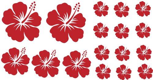 XL Design Set Y 17 Stück HIBISKUS rote Blumensticker Autoaufkleber Blumen oder Wandtattoo selbstklebende Aufkleber fürs Auto, Wandsticker Out- & Indoor, Wandbild & Fensterbild wählen Sie aus 32 Farben!
