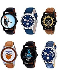 NIKOLA New Gift Mahadev Beard Style Black Blue And Brown Color 6 Watch Combo (B22-B56-B14-B55-B23-B57) For Boys...