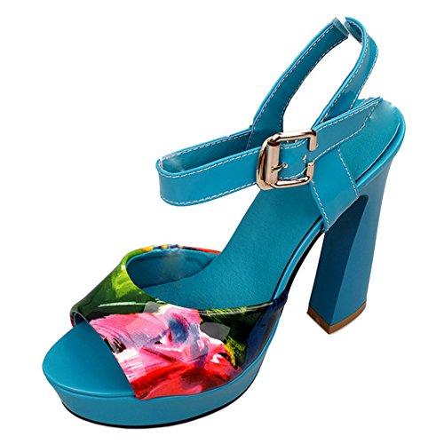 TAOFFEN Femmes Peep Toe Sandalen Mode Bloc Talons Hauts Sangle De Cheville Floral Chaussures 722 Bleu