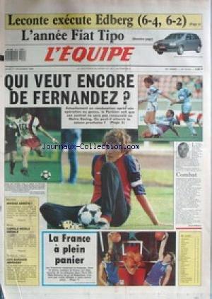 EQUIPE (L') [No 13241] du 01/12/1988 - LECONTE EXECUTE EDBERG - L'ANNEE FIAT TIPO - QUI VEUT ENCORE DE FERNANDEZ - ESCRIME - NEIGE - CAROLE MERLE - TENNIS DE TABLE - LE SUEDOIS.