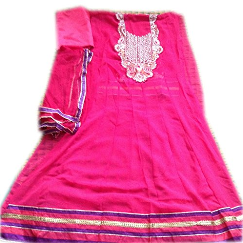 AASRi women Pink Stitched Small Size Georgette Anarkali Suit  available at amazon for Rs.399