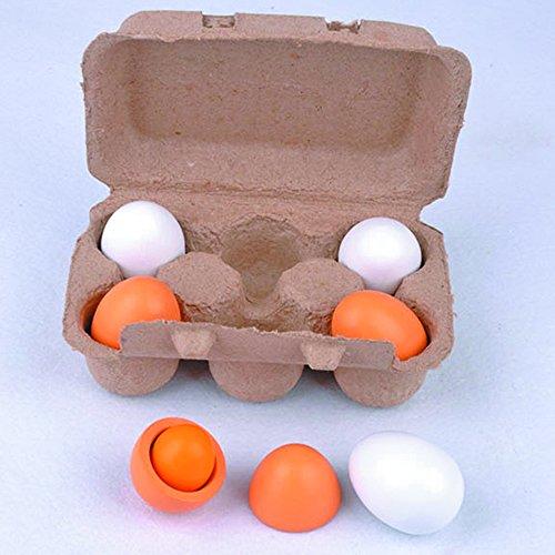 6Holz Simulation Eier, Handwerk DIY Eggshell naturnahe Künstliche Ei Spielzeug für Kinder Kitchen Food Home Dekoration (Eierkartons Für Kinder)