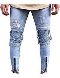 Vaqueros Para Hombre Slim Fit Moto Pantalones Ver Destruido Desgarrar Agujeros