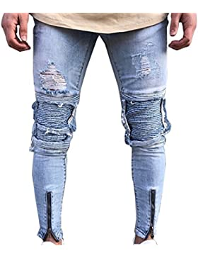 Uomo Distrutto Jeans Strappato Destroyed Denim Sdrucito Biker Casuale Pantaloni