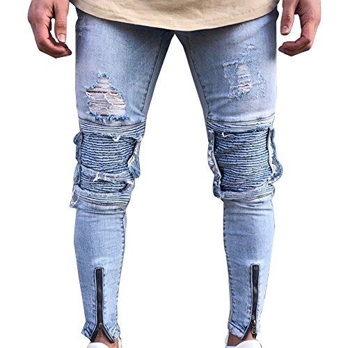 Vaqueros Para Hombre Slim Fit Moto Pantalones Ver...