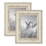 PHOTOLINI 2er Set Vintage Bilderrahmen 13x18 cm Weiss Shabby-Chic Massivholz mit Glasscheibe und Zubehör/Fotorahmen / Nostalgierahmen