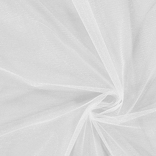Fabulous Fabrics Glitzer Tüll - Weiss - Meterware ab 0,5m - zum Nähen von Abend- und Partymode, Weihnachten und Karneval