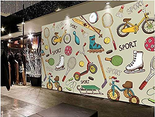 Fotos 3D Fototapete Cartoon Badminton Fahrrad Springseil Foto Poster Gym Gym Yoga Raumdekoration Tapete-250 * 175Cm