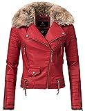 Navahoo Damen Winter Jacke Kunstlederjacke Side Cast (vegan hergestellt) Rot Gr. L