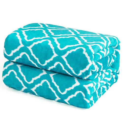 Bedsure coperta in pile di flanella per letto stampata - scorrimento per reticolo - coperta per letto, divano, auto, ufficio, viaggi in campeggio e regali taglia 220x240 cm alzavola stampata