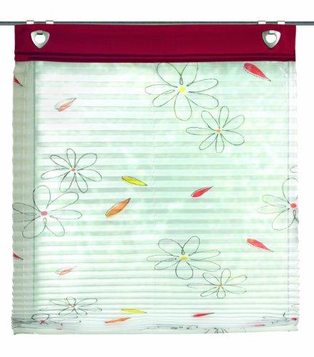 Home fashion schmidtgard stoffe gesa - tenda a pacchetto plissettata, in voile, con occhielli e ganci per il montaggio alla finestra, fantasia stampata, poliestere, rosso, 140 x 45 cm