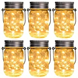 GIGALUMI Hanging Solar Mason Jar Lid Lights, 6 Pack 15 Led String Lights Lights Solar Laterns Luci da tavolo, 6 Hangers e vasi inclusi