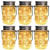 GIGALUMI Solar Mason Jar Licht 6 Pack 15 LED Wasserdicht Solar Glas Einmachglas warmweiß Garten Hängeleuchten für Party, Weihnachten, Hochzeit