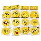 Schramm Onlinehandel NO Onlinehandel S/O 36er Pack Radiergummi Smiley ca. 4,5 cm 12 Motive Gummi Rubber Radierer Tombola Schulbedarf Mitgebsel Kindergeburtstag