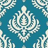 Klebefolie - Prägnantes Damast Muster petrol hell-beige, Dekorfolie, Bastelfolie, DIY, Designfolie, Sticker, Holzfolie, Glasfolie, Meterware, Größe HxB: 50cm x 50cm