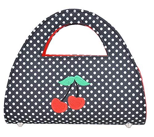 Küstenluder Damen Tasche Diwa Punkte Cherry Clutch Bag (Schwarz mit weißen Dots) (Schwarz Mit Polka Dots Weißen)