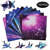 Papel de origami de doble cara, constelación de cielo nocturno, papel para manualidades, 150 hojas, 15 x 15 cm, papel de decoración cuadrado para proyectos de arte y manualidades