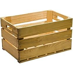 Caja de fruta (madera, 54 x 35 x 30 cm), color marrón