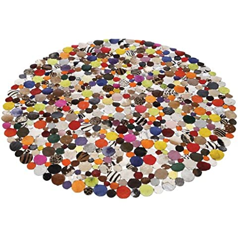 Alfombra redonda de cuero de diseño multicolor 150x150