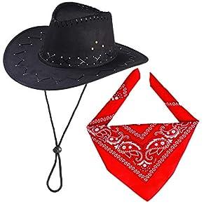 Haichen Accesorios de Disfraces de Vaquero Sombrero de Vaquero con pañuelo Conjunto de Vaquero para Halloween Cosplay Disfraces (Negro)