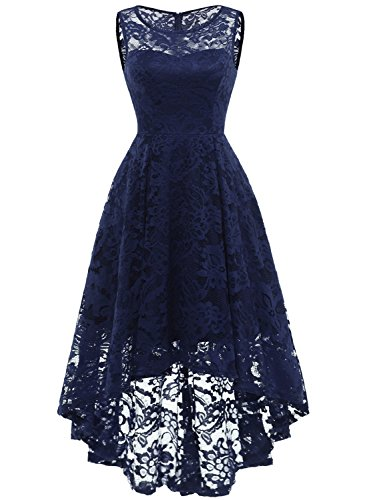 MUADRESS MUA6006 Elegant Kleid aus Spitzen Damen Ärmellos Unregelmässig Cocktailkleider Party Ballkleid Marineblau M